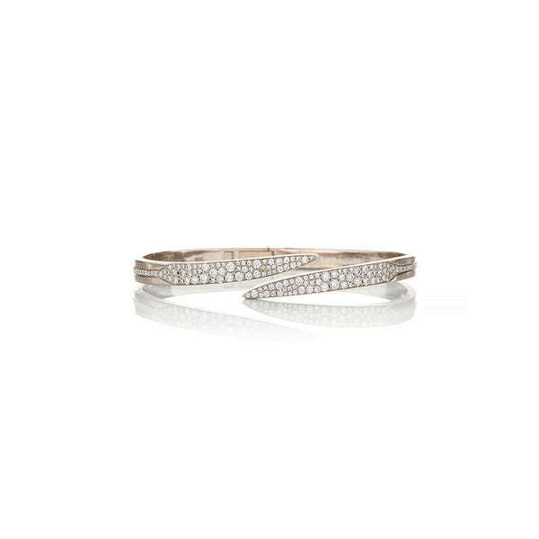 White Gold Diamond Pirouette Bangle - Sofia Jewelry