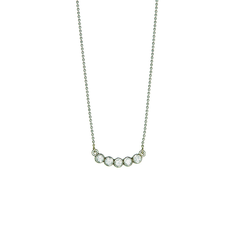 White Gold 5 Diamond Necklace - Sofia Jewelry