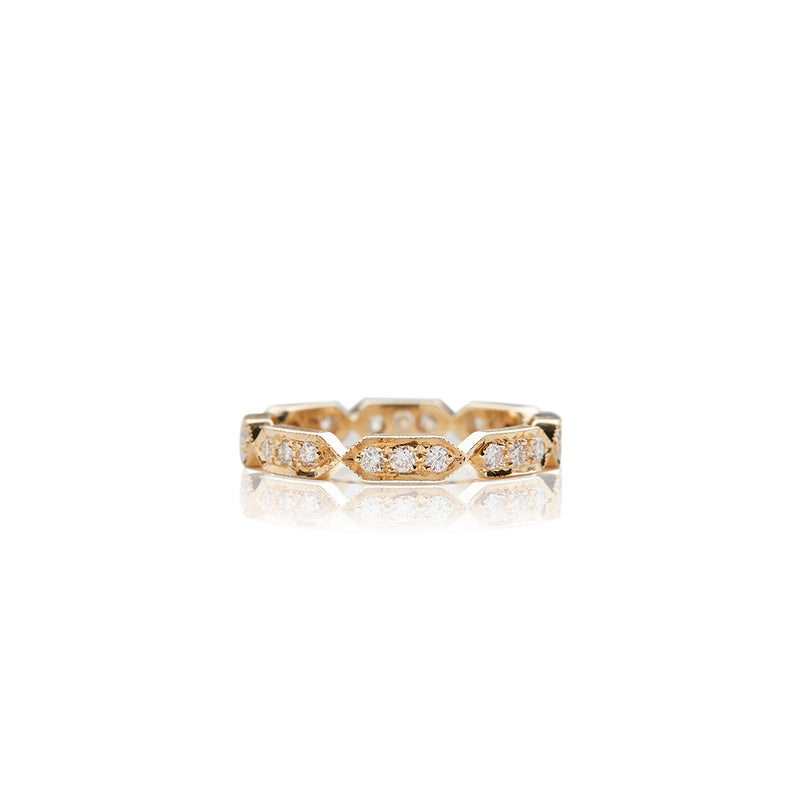 Yellow Gold Deco Diamond Band - Sofia Jewelry