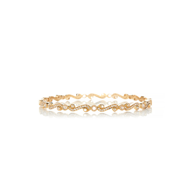 Gold Scroll Diamond Bangle - Sofia Jewelry