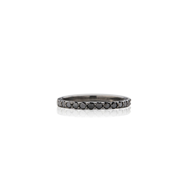 Silver and Black Diamond Band - Sofia Jewelry