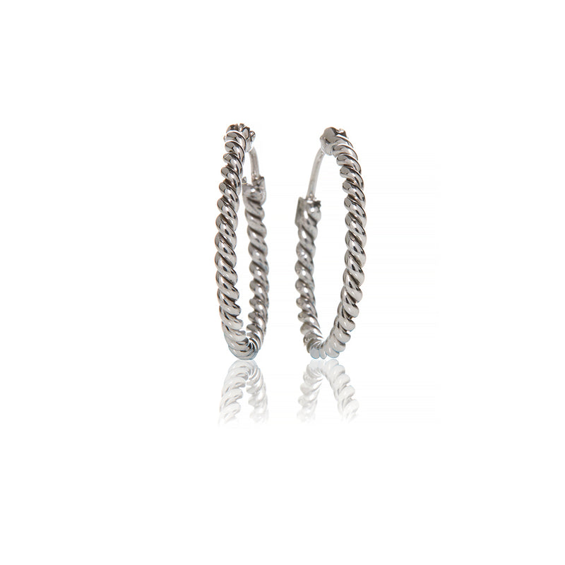 White Gold Single Rope Hoops - Sofia Jewelry