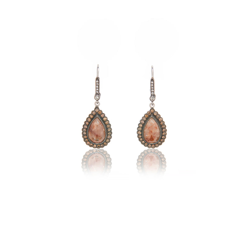 White Gold Brown Diamond Slice Earrings - Sofia Jewelry
