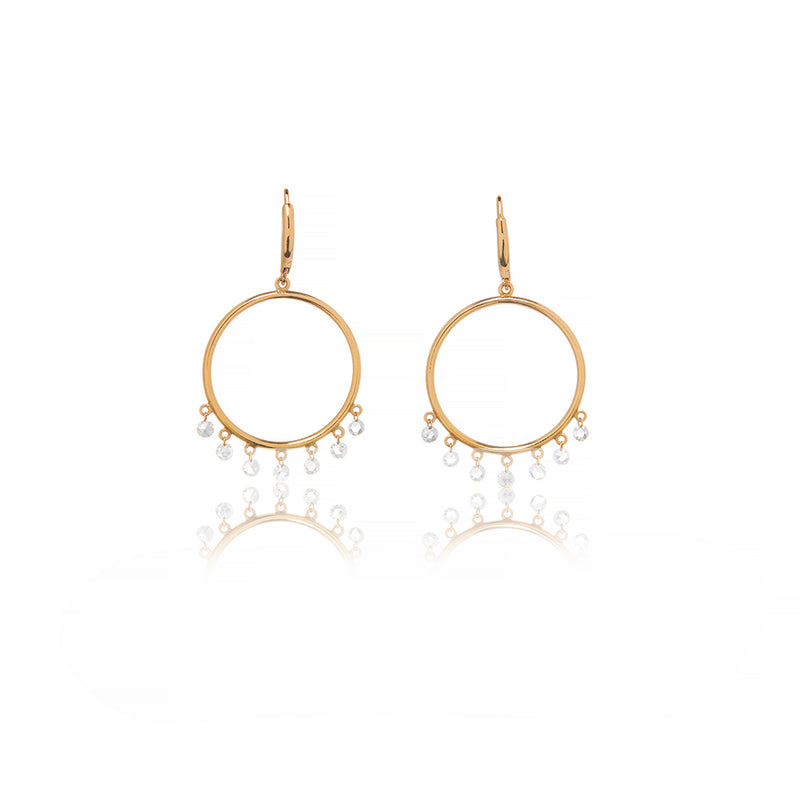 Yellow Gold Circle Diamond Earrings - Sofia Jewelry