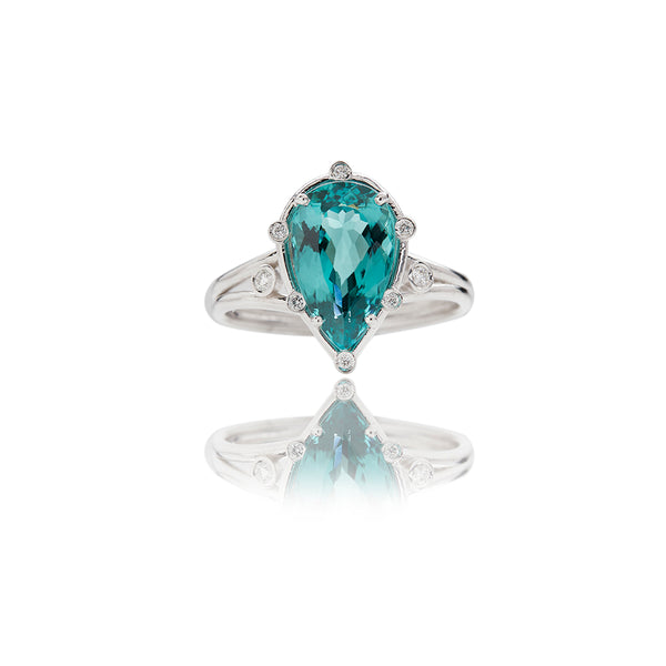 White Gold Aqua Tourmaline Colored Diamond Rings - Sofia Jewelry