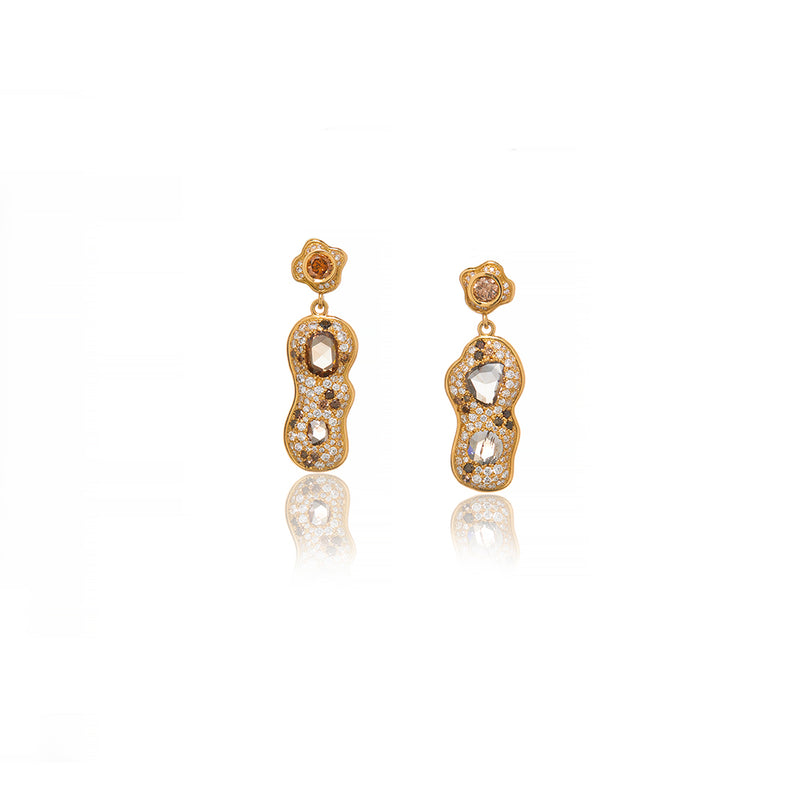 Yellow Gold Congac Diamond Drop Earrings - Sofia Jewelry