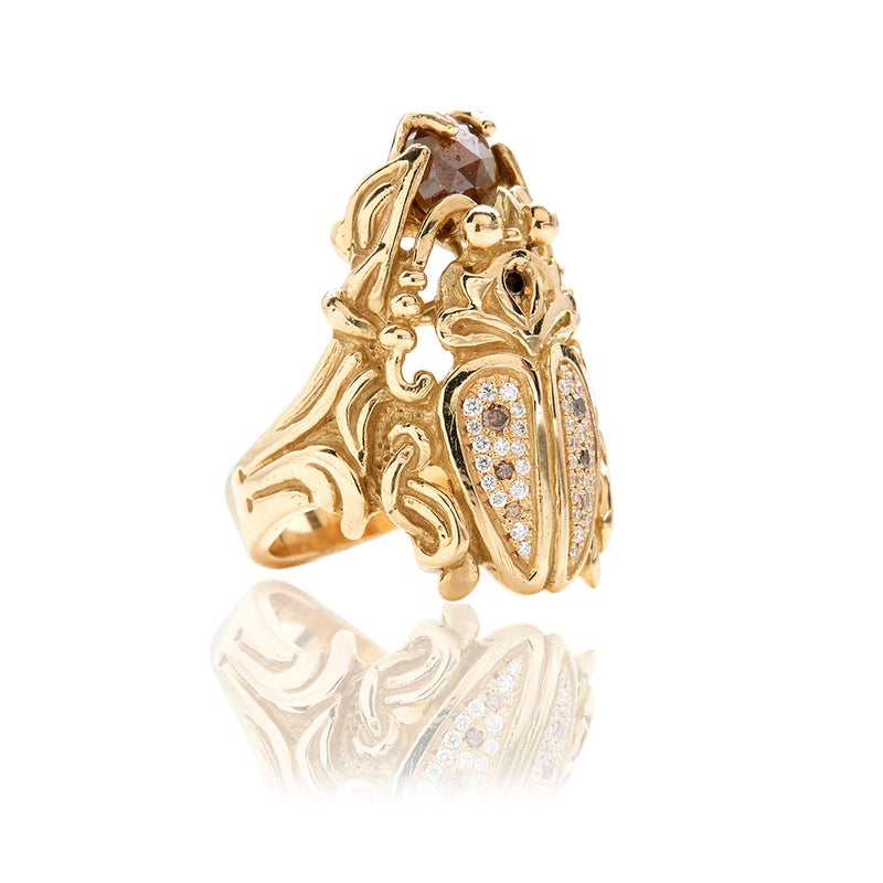 18 Karat Yellow Gold Diamond Scarab Ring