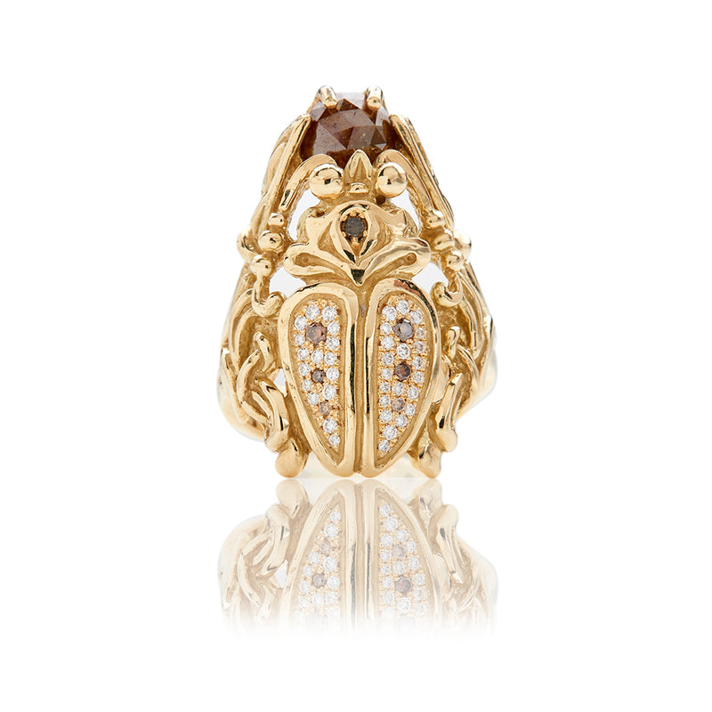 Yellow Gold Diamond Scarab Ring - Sofia Jewelry