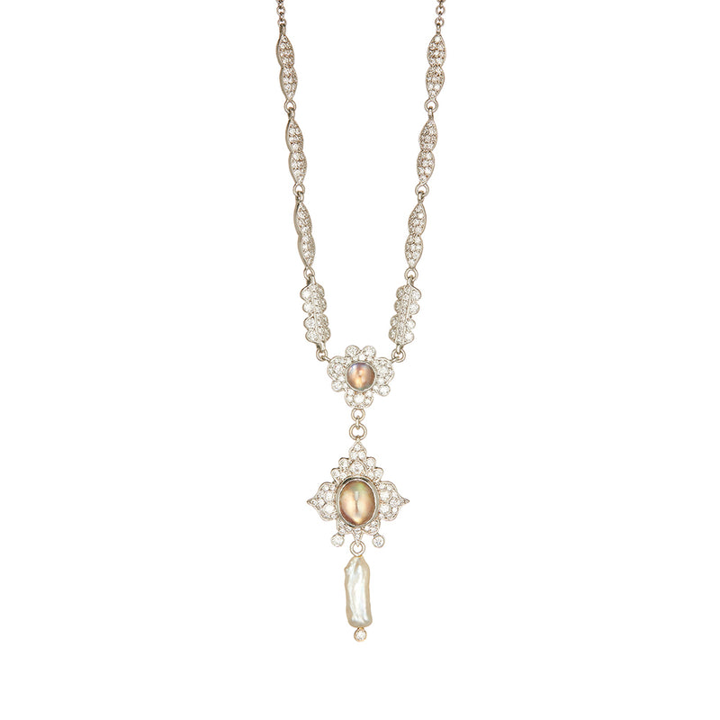 White Gold Diamond Necklace - Sofia Jewelry