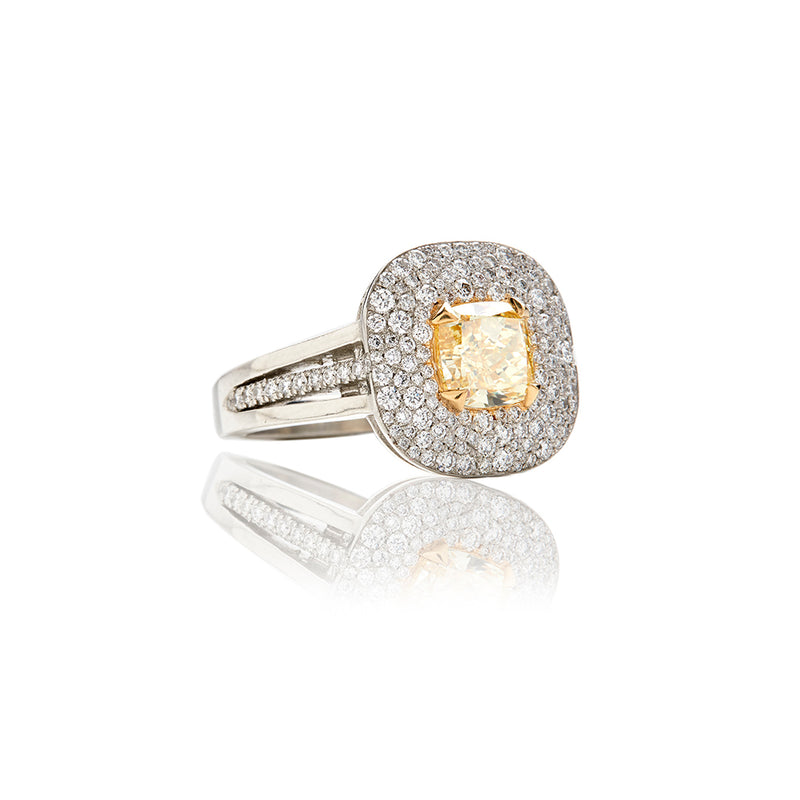 Platinum Fancy Intense Yellow Colored Diamond Rings - Sofia Jewelry