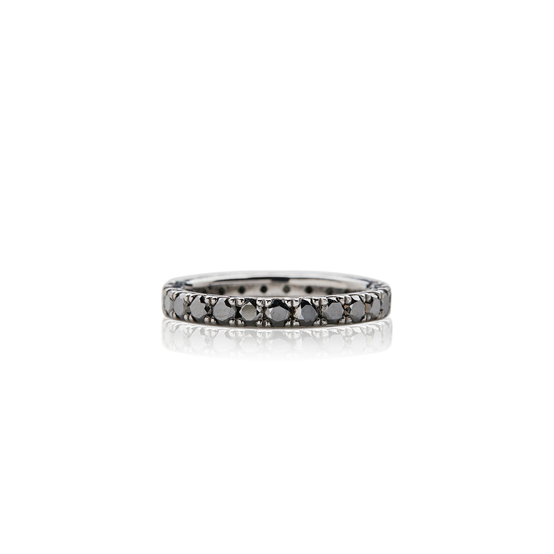 White Gold Black Diamond Band - Sofia Jewelry