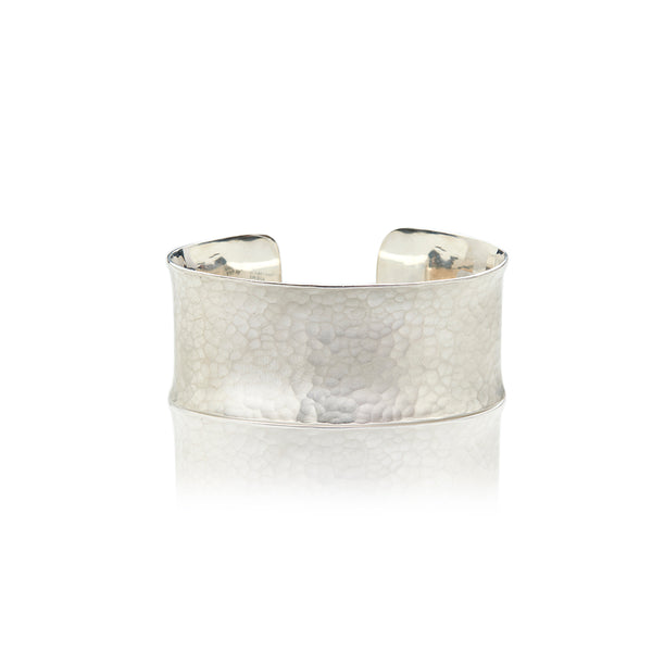 Sterling Silver Brushed and Hammered Cuff - Sofia Jewelry