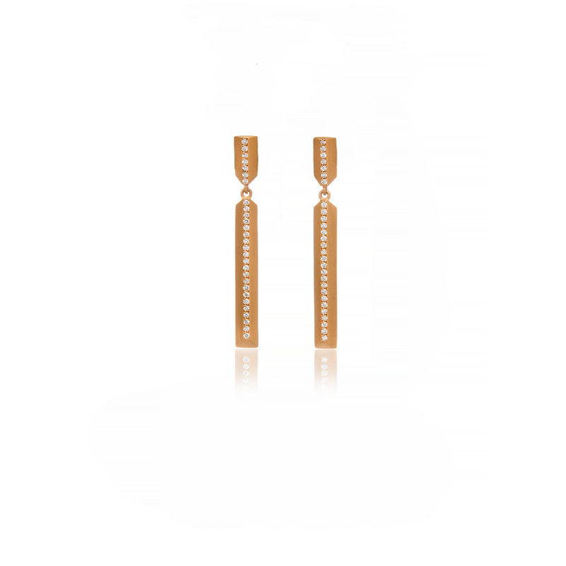 Yellow Gold Brushed Bar Earrings - Sofia Jewelry