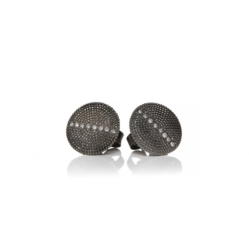 Rhodium Plated Diamond Stud Earrings - Sofia Jewelry