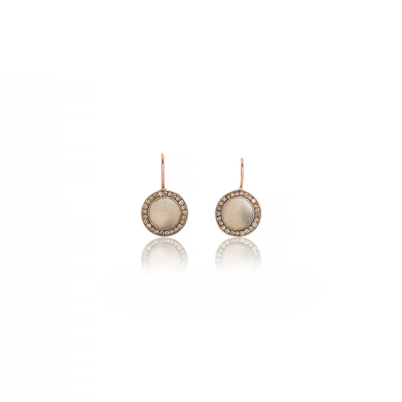 Sterling Silver Circle Champagne Diamonds Earrings - Sofia Jewelry