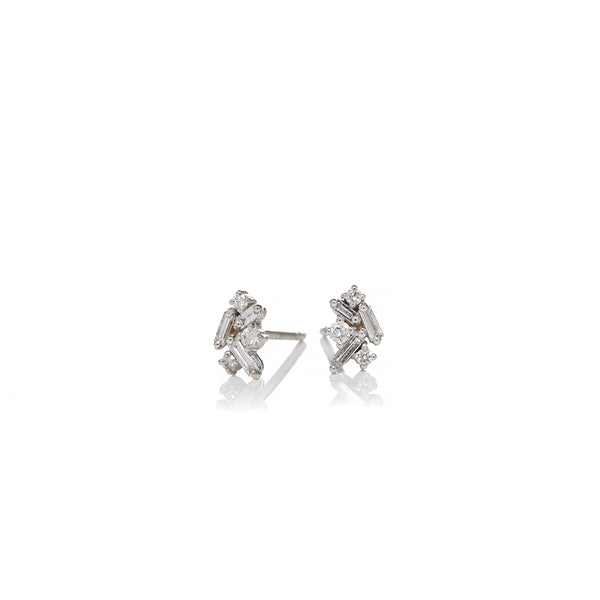 White Gold Mini Cluster Diamond Earrings - Sofia Jewelry