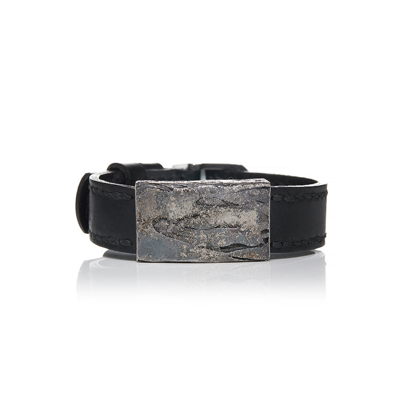 Palladium and Sterling Silver Black Leather Bracelet - Sofia Jewelry