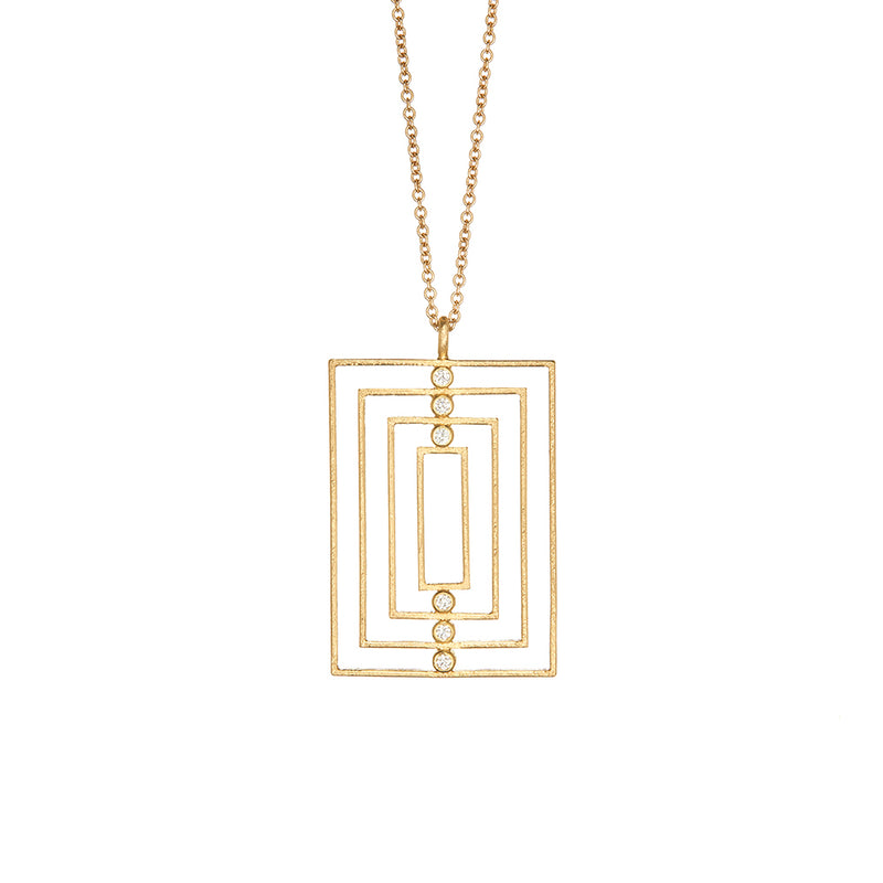 Yellow Gold Art Deco Diamond Necklace - Sofia Jewelry
