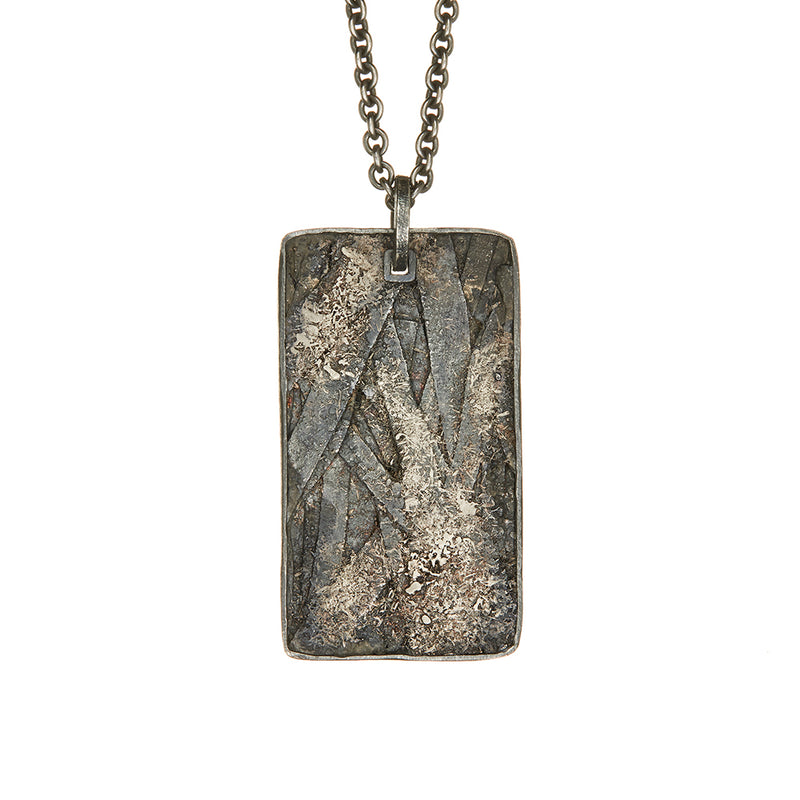 Palladium and Sterling Silver Dog Tag Pendant - Sofia Jewelry