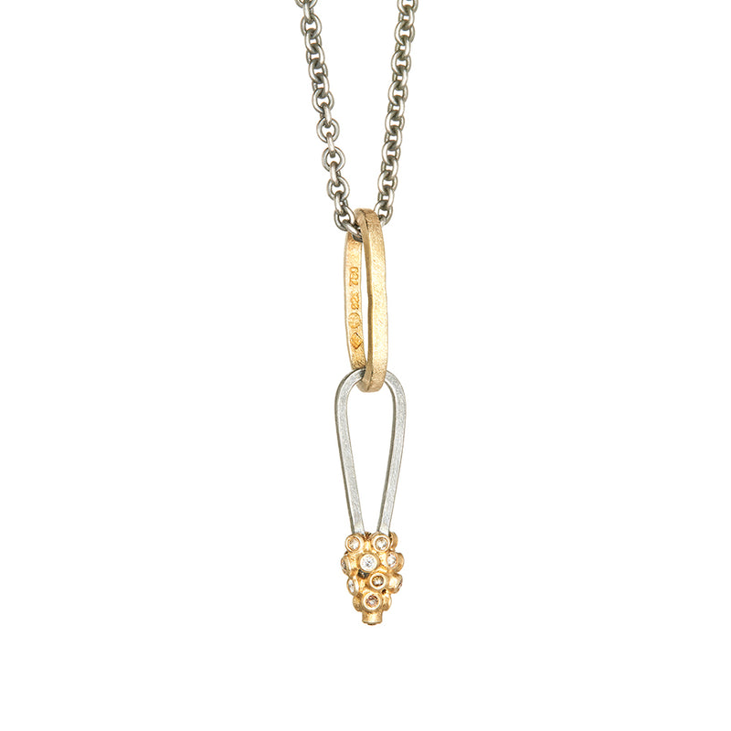 Gold and Sterling Silver Diamond Necklace - Sofia Jewelry