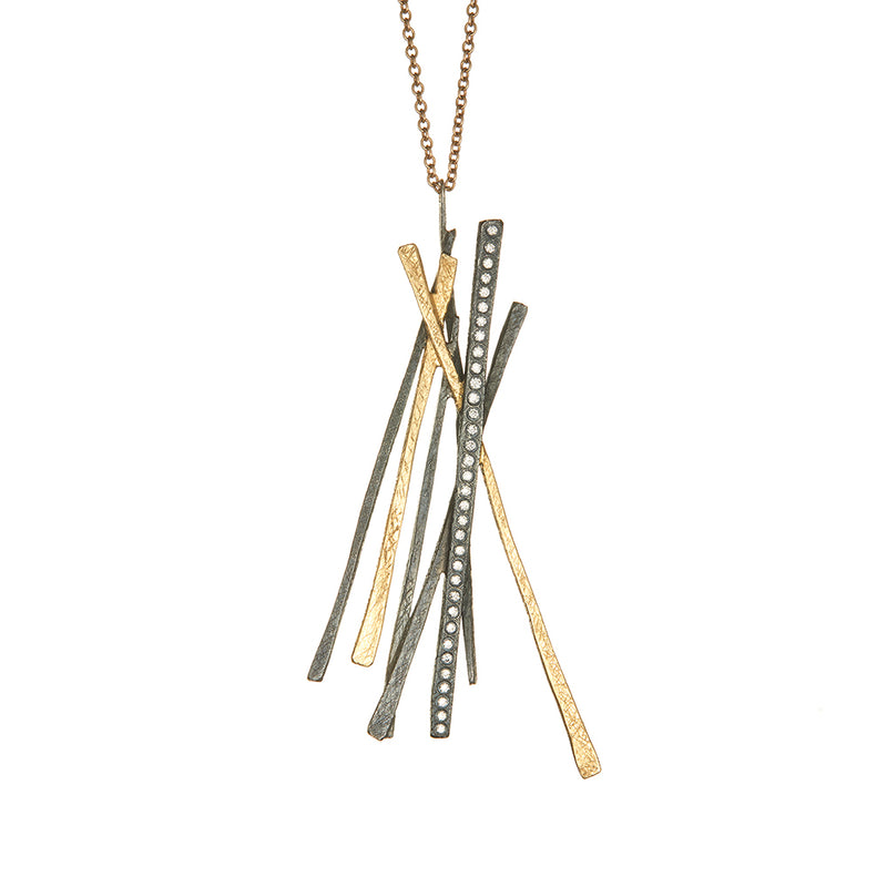 Yellow Gold and Sterling Silver Diamond Necklace - Sofia Jewelry
