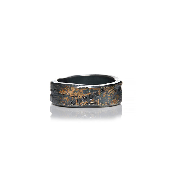 Gold and Sterling Silver Black Diamond Band - Sofia Jewelry