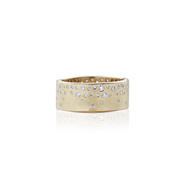 Yellow Gold Constellation Diamond Mens Wedding Bands - Sofia Jewelry