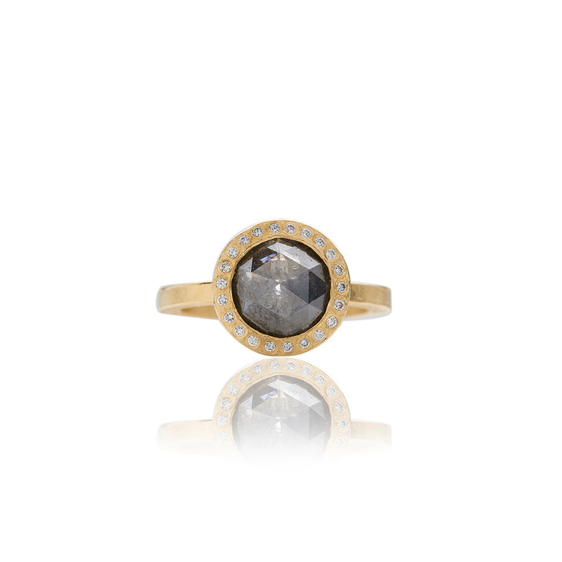 Gold Smoky Grey Colored Diamond Rings - Sofia Jewelry