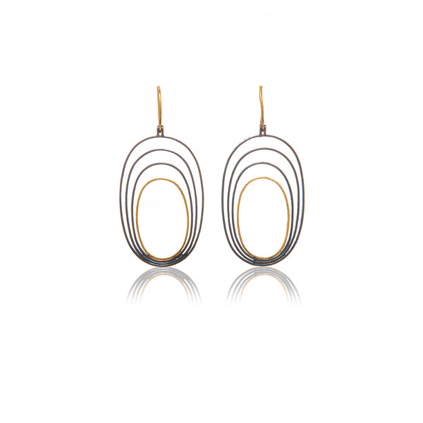 Yellow Gold and Silver Earrings - Sofia Jewelry