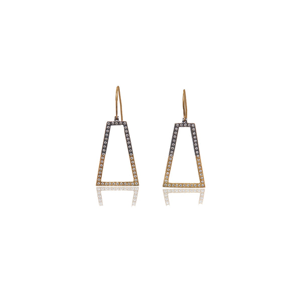 Yellow Gold and Sterling Diamond Earrings - Sofia Jewelry