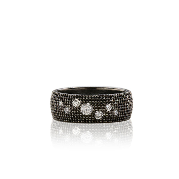 Silver Rhodium and Diamond Band - Sofia Jewelry