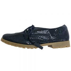 Rey Navy Blue Scales Leather Loafer