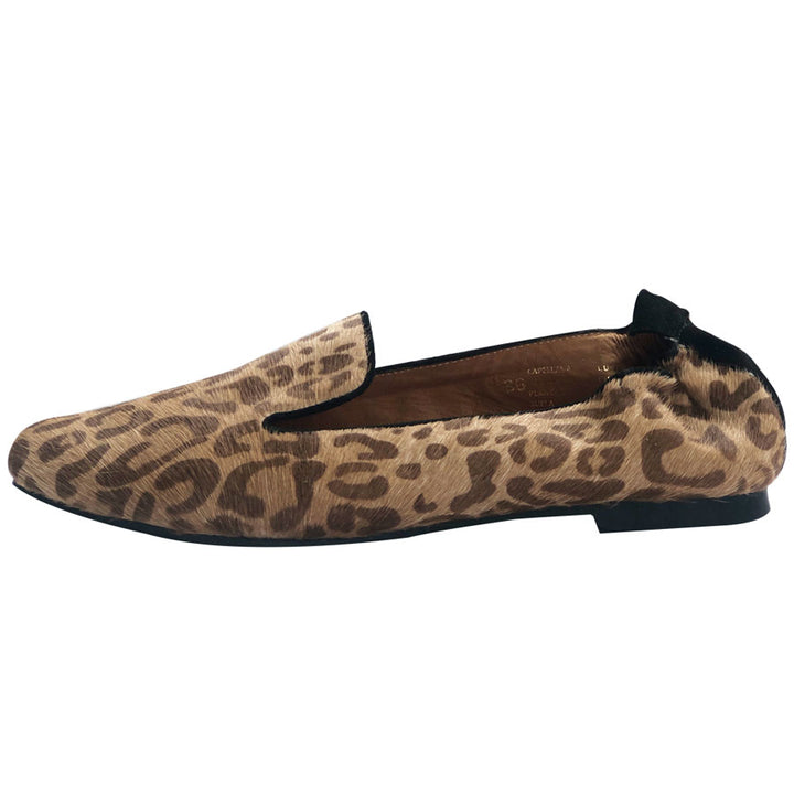 Bolivar Leopard Print Leather Pointy Flat
