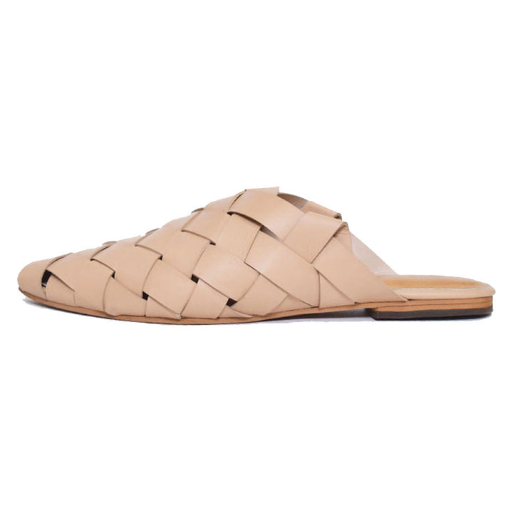 Vida Woven Nude Mule Leather Loafer