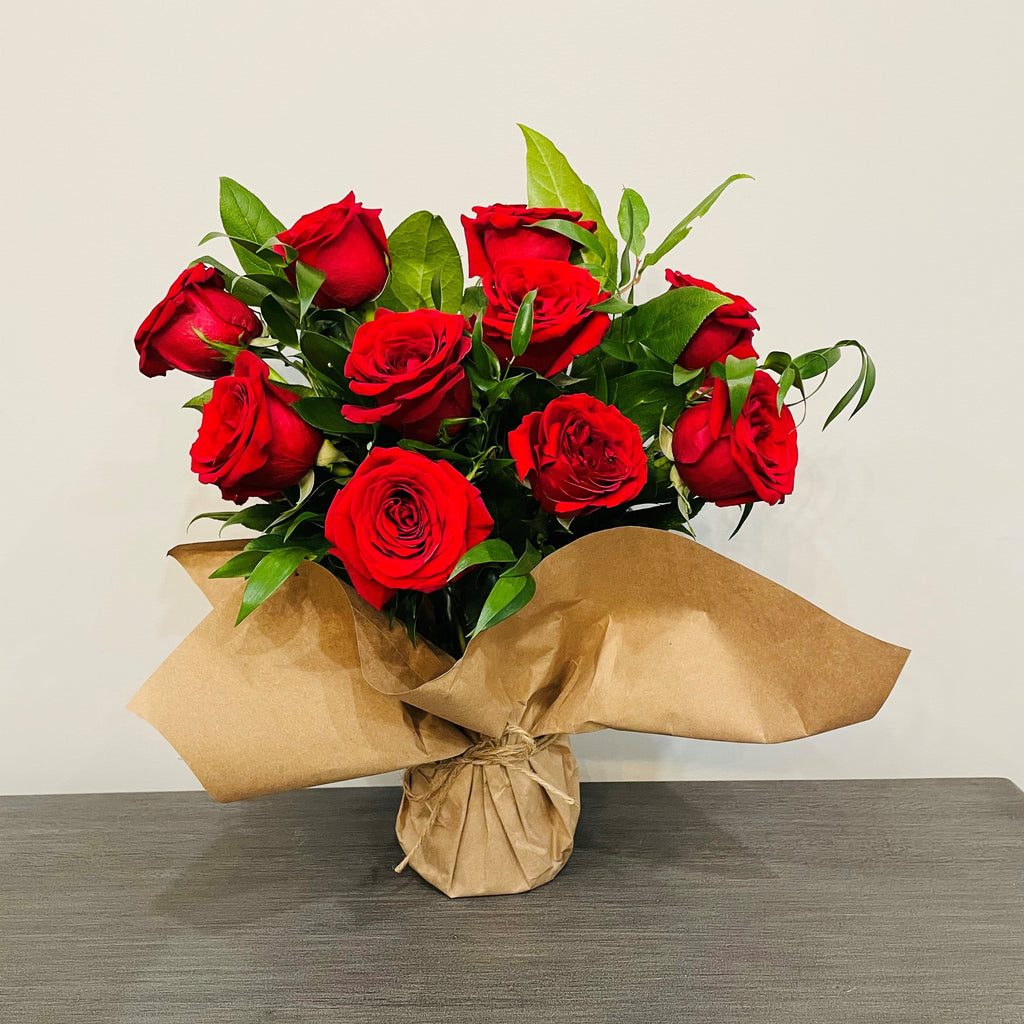 One Dozen Red Roses Arrangement