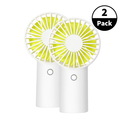 2-Pack USB Rechargeable Handheld Fan - White
