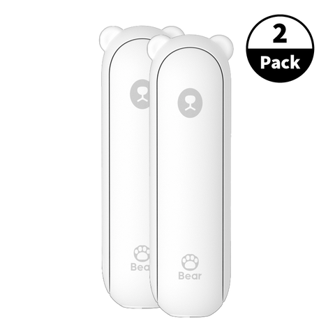 2-Pack USB Rechargeable Travel Bear Fan - White