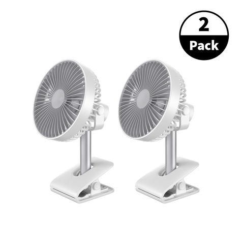 "2-Pack USB Rechargeable 10"" Air Clip On Fan - White"