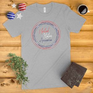 United States of America Circle Wreath Ladies' T-Shirt