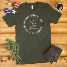 Load image into Gallery viewer, United States of America Circle Wreath Ladies' T-Shirt