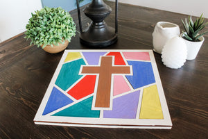 DIY Cross Stained Glass Mosaic Sign