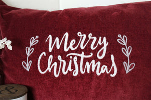 Merry Christmas Velvet Pillow Cover