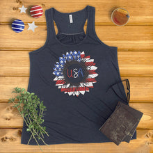 Load image into Gallery viewer, American Flag Sunflower Ladies' Tank Top