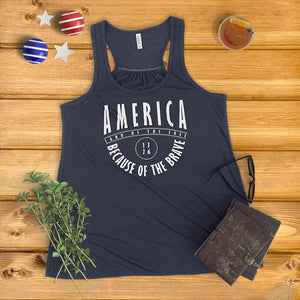 America Land of the Free, Because of the Brave Ladies' Tank Top