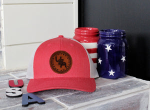 USA 50 Stars Genuine Leather Patch Hat