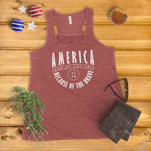 Load image into Gallery viewer, America Land of the Free, Because of the Brave Ladies' Tank Top