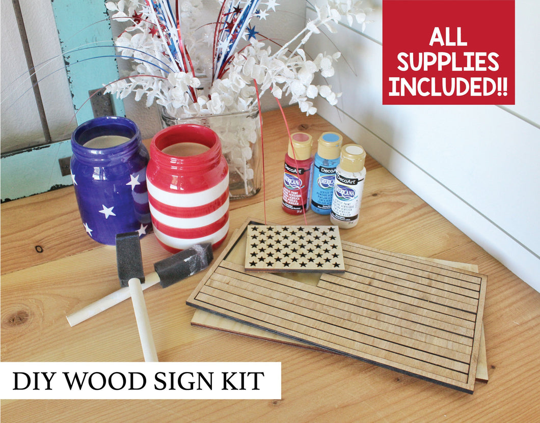DIY 3D American Flag Sign