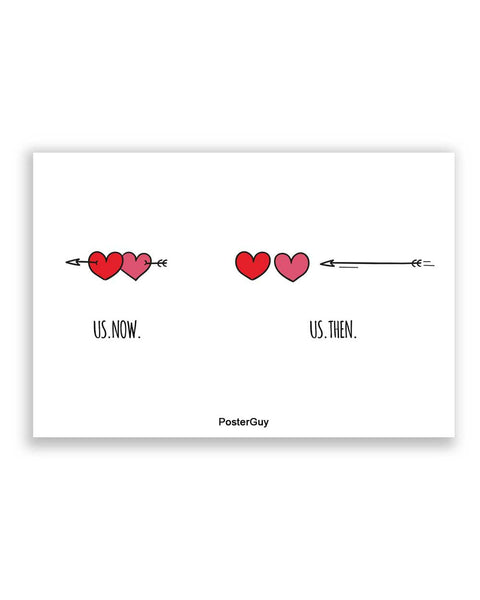 Buy Love Posters Online | Us then and Now Valentine's Day A4 Poster | PosterGuy.in
