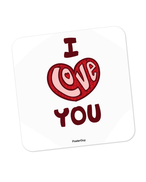I Love You Red Valentine's Day Coaster Online India