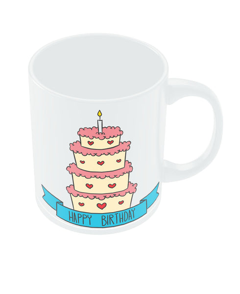 Happy Bithday Cake Illustration Coffee Mug Online India